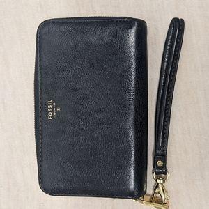 FOSSIL wallet - Black Leather Clutch Wristlet